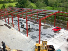 aerial view steel frame building