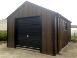 brown and black cladding steel garage