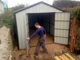 double door steel shed small space