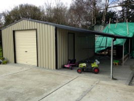 steel garage with lean to